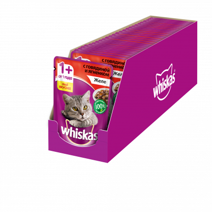 Влажный корм для кошек Whiskas желес говядиной и ягненком, 24 шт по 85г