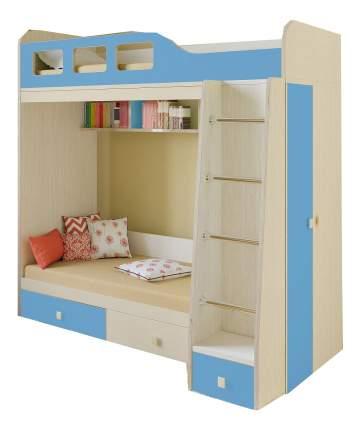 Двухярусная кровать РВ мебель Астра 3 дуб молочный/голубой