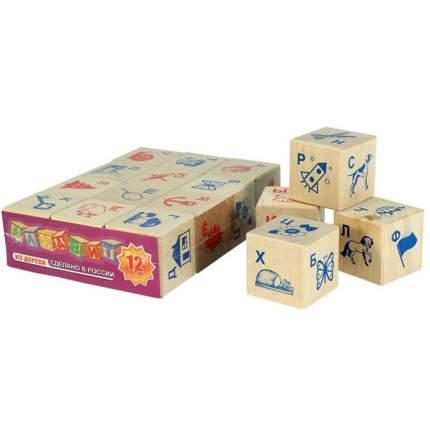 Набор кубиков с буквами и картинками, 12 штук