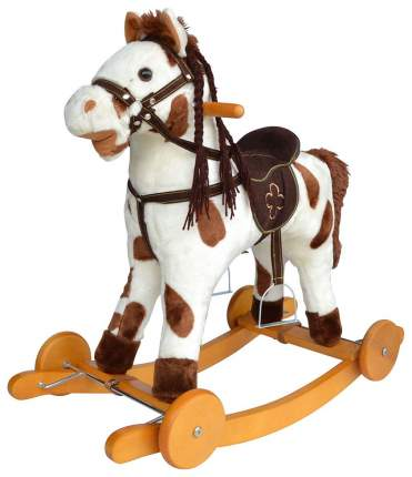 """Качалка-лошадка """"Pituso"""", белый с коричневыми пятнами"""