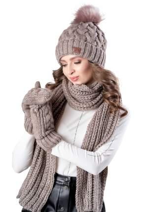 Комплект (шапка+шарф+варежки) женский Jagga 1504 коричневый ONE SIZE