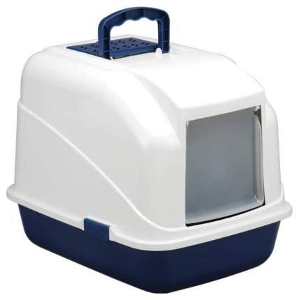 Туалет для кошек Triol LB04, прямоугольный, синий, 48х40х41 см