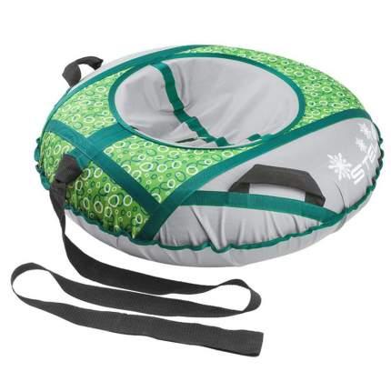 Санки надувные 110 см STELS без камеры СН030 серый/зеленые и белые кольца