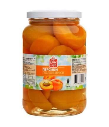 Персики Fine Life половинки очищенные в сиропе 1.65 кг