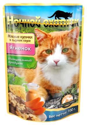 Влажный корм для кошек Ночной Охотник, ягненок, 24шт, 100г