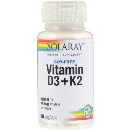 Витамины Solaray D3 + K2 60 капсул