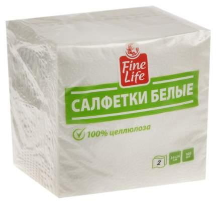 Салфетки Fine Life двухслойные белые 100 штук