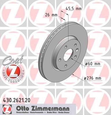 Тормозной диск ZIMMERMANN 430.2621.20