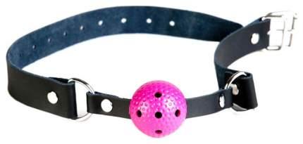 Кляп-шар ToyFa Theatre пластиковый на черных кожаных ремешках розовый