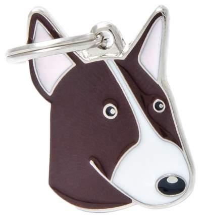 Адресник на ошейник для собак My Family Colors Бультерьер, белый с коричневым, 2,5х3,2 см