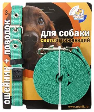 Ошейник и поводок для собак Зооник, светоотражающий, капрон, зеленый, 20мм, 34-46 см и 3 м