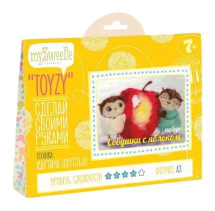 Картина из шерсти TOYZY TZ-P026 Совушки с яблоком