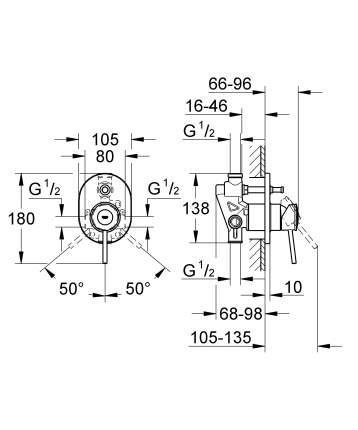 Смеситель для встраиваемой системы Grohe BauClassic 29047000 серебристый