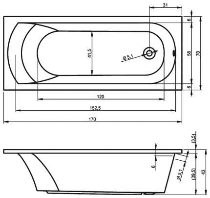 Акриловая ванна Riho Miami 170х70 без гидромассажа