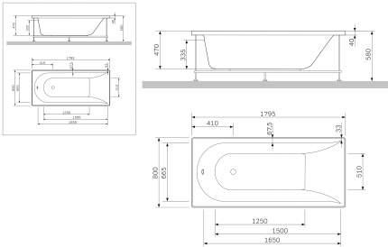Экран для ванны AM.PM Inspire 180x80 A0 W5AA-180-080W-P64