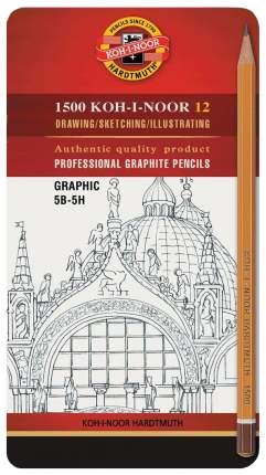 Набор чернографитных карандашей в железной упаковке Koh-I-Noor 1500 Graphic 5B-5H 12 шт.