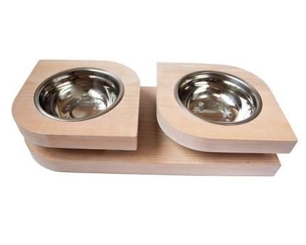 Двойная миска на подставке из бука BEDFOR для небольших собак, крупных кошек Bloom S, бел
