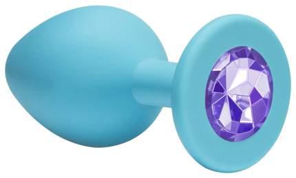 Малая голубая анальная пробка Emotions Cutie Small с фиолетовым кристаллом 7,5 см