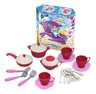 Подарочный набор детской посуды кухонный сервиз волшебная хозяюшка