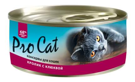 Консервы для кошек Pro Cat, кролик, клюква, 100г