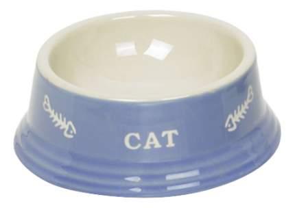 Одинарная миска для кошек Nobby, керамика, голубой, белый, 0.14 л