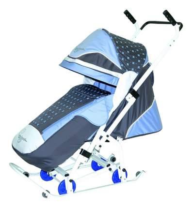 Санки-коляска R-Toys Скользяшки Мозаика серый/голубой/белый
