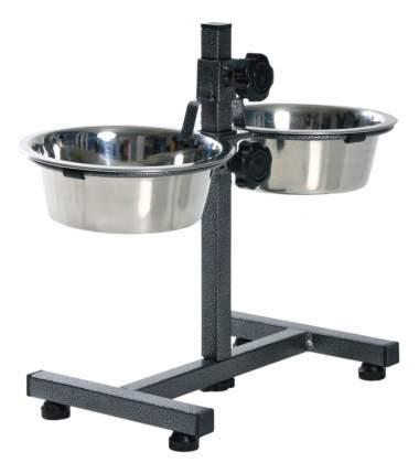 Двойная миска для собак TRIXIE, металл, сталь, серебристый, 2 шт по 1.8 л