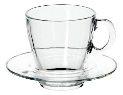 """Набор чашка с блюдцем из закал,стекла """"Аква"""" на 6 персон 215мм"""