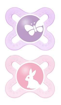 Силиконовая пустышка ортодонтическая MAM Start (бабочка и зайка) сиреневая и розовая 2 шт.
