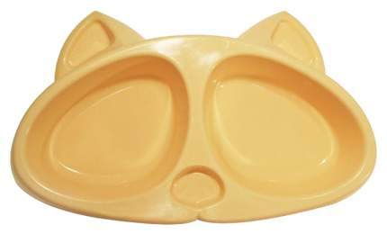 Двойная миска для кошек ZooExpress, пластик, оранжевый, 2 шт по 0.2 л