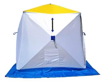 Палатка Стэк Куб трехслойная одноместная белая/голубая/желтая