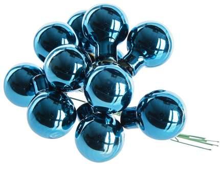 Гроздь стеклянных шаров Kaemingk на проволоке 25 мм лазурный синий глянцевый, 12 шт 713030