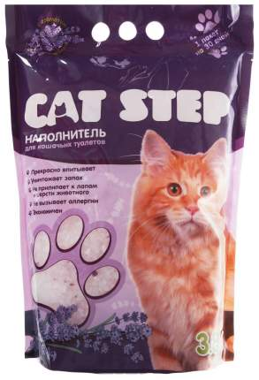 Впитывающий наполнитель для кошек Cat Step силикагелевый, лаванда, 1.7 кг, 3.8 л