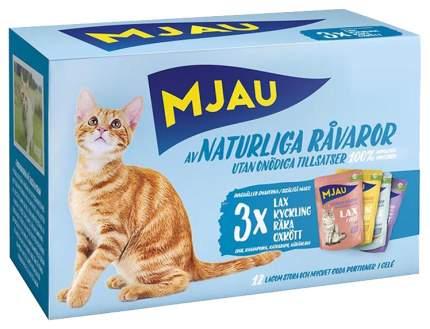 Влажный корм для кошек Mjau Multipack Meat&Fish Mix мясной и рыбный микс набор 12шт по 85г