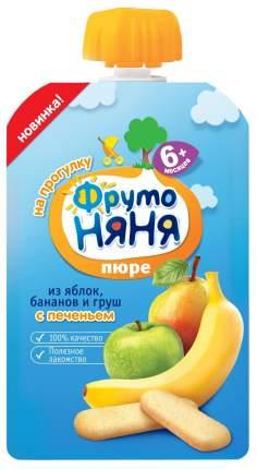 Пюре фруктовое ФрутоНяня Яблоко банан груша с печеньем с 6 мес. 90 г