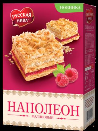 Торт Русская Нива наполеон малиновый 340 г