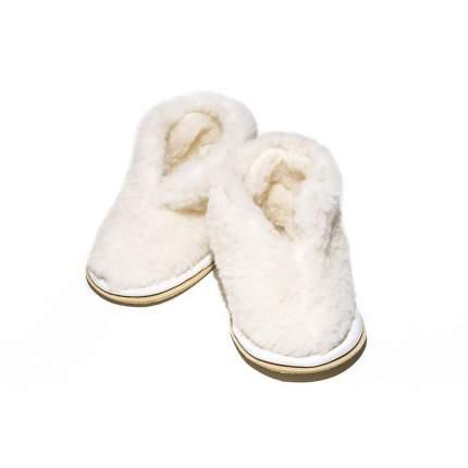 Бабуши Smart-Textile из овечьего меха на трикотажной основе белые, размеры 27-28