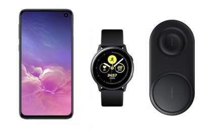 Смартфон Samsung Galaxy S10e 128Gb Onyx+часы Watch Active+беспроводная зарядка EP-P5200
