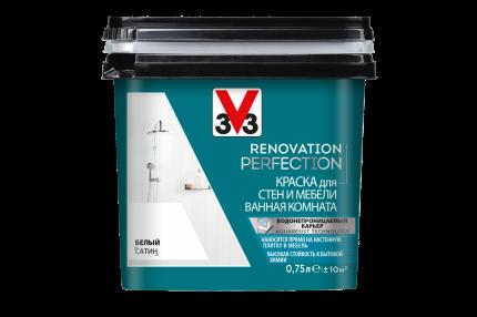 Краска V33 для стен и мебели в ванной комнате Renovation Perfection Цвет белый