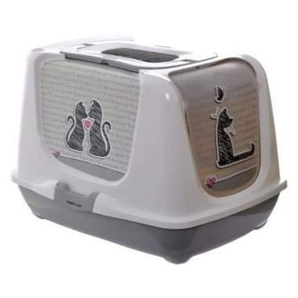 Туалет для кошек MODERNA Trendy cat, прямоугольный, серый, 50х41х39 см