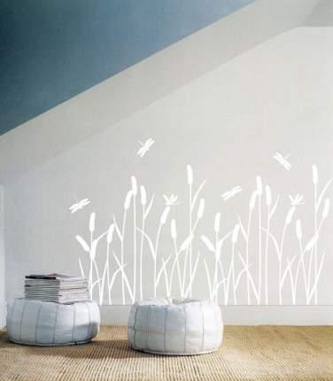 Виниловая наклейка на стену Home-decors Белый камыш 90х75см SS58229