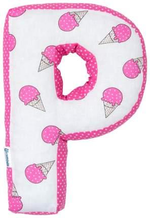 Подушка Крошка Я буква Р 35х25 см, розовый