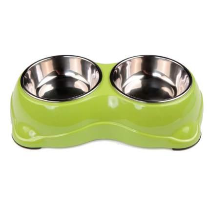 Миска для домашних животных Bobo, двойная, салатовая, 150+150 мл