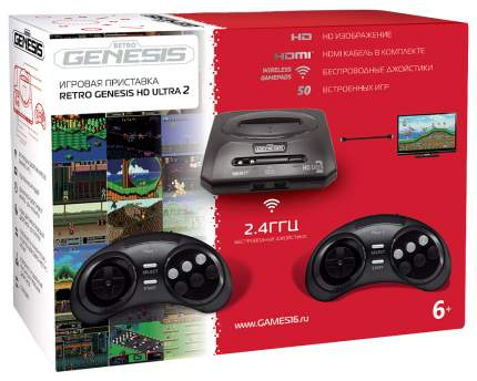 Игровая приставка SEGA Retro Genesis HD Ultra 2 ConSkDn71 Черный +50 игр
