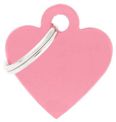 Адресник My Family Basic алюминиевый в форме сердца для кошек и собак (2,5 см, Розовый)
