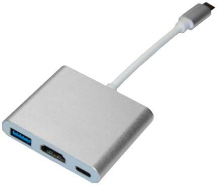 Переходник Type-C HUB USB3.0 - HDMI - Type-C Серебристый