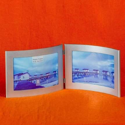 Мультирамка металлическая горизонтальная для двух фотографий, 10х15 см