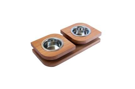 Двойная миска на подставке из массива бука BEDFOR BloomXS для кошек и маленьких собак, беж