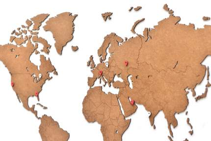 Деревянная карта мира Mimi Wall Decoration Brown 90x54 cm, коричневый