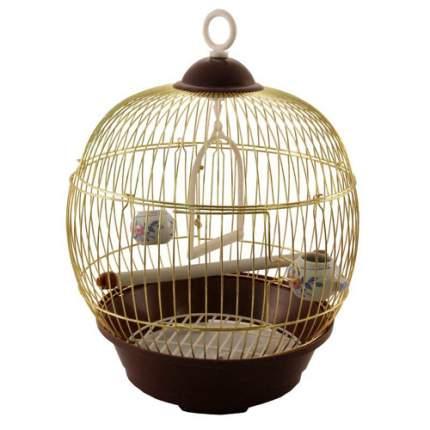 Клетка для птиц Triol золотая с коричневым, 36,5 х 23 х 23 см